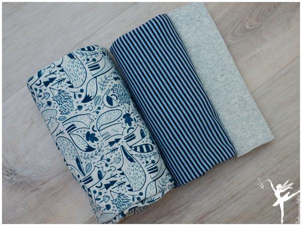 Stoffpaket Jersey Woodland Ecru/Blau