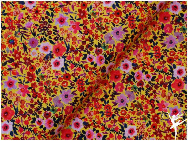 Aquarell Fleurs Jersey Gelb/Bunt