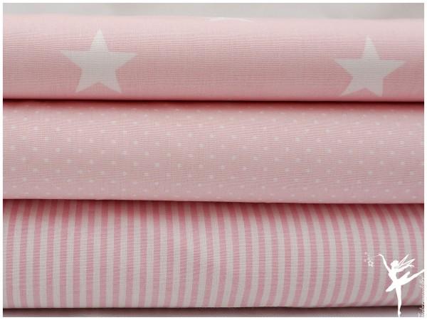 ♥ Stoffpaket 1,5 Meter Rosa/Weiß Sterne/Streifen/Punkte Baumwolle ♥