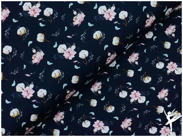 ♥ Digital Jersey Baumwollblüte Dunkelblau