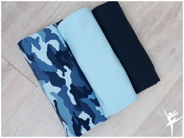 Stoffpaket Jersey Camouflage Blau