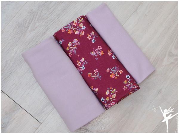 Stoffpaket Jersey Blumen/Uni Weinrot/Altrosa