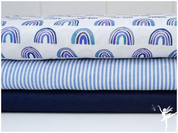 ♥ Stoffpaket 1,5 Meter Regenbogen Blau/Weiß Baumwolle ♥