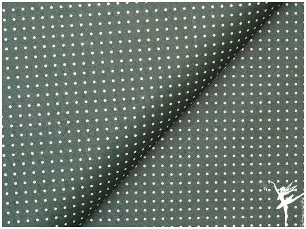 Baumwolle Mini Punkte Grün/Weiß