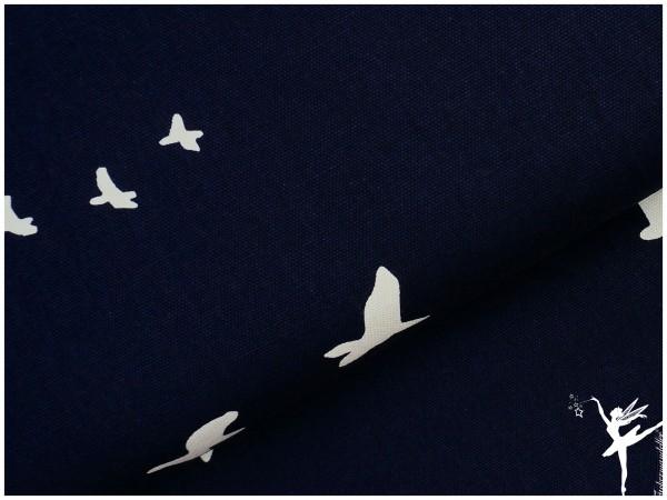 BIO CANVAS Baumwolle Birch Fabrics BLAU Vögel