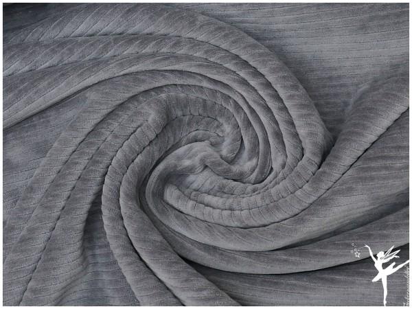 Kuschelweicher Breit Cord Jersey Grau elastisch