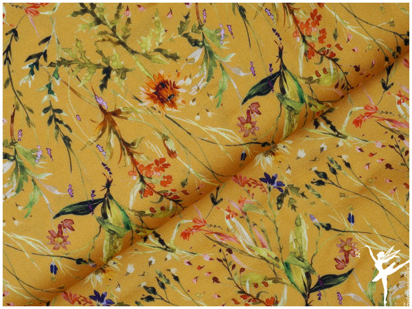 Frieda Viskose Wiesenblumen Gelb