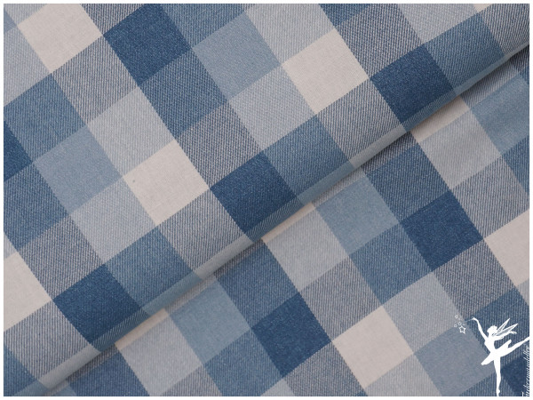 Weicher Karo Jeansstoff Blau/Creme