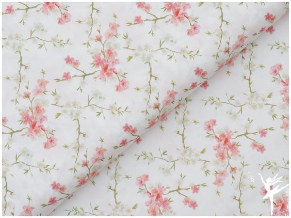 Baumwolle/Popelin Blumen Weiß/Bunt