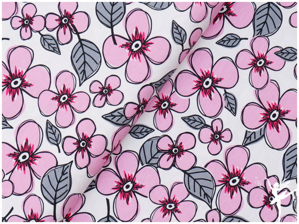 Jersey Steinbeck Valerie Papillon Blumen Weiß/Rosa