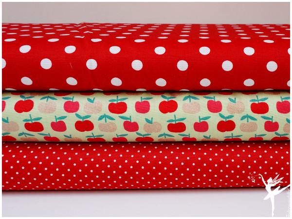 ♥ Stoffpaket 1,5 Meter Äpfel/Punkte Rot/Grün Baumwolle ♥