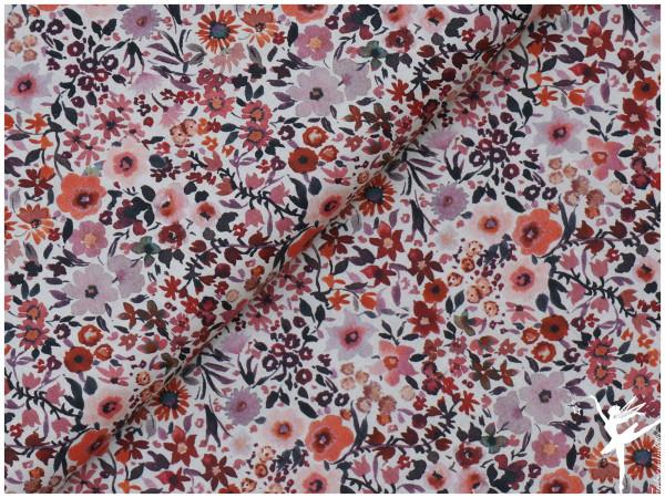 Digital Baumwolle/Webware Aquarell Fleurs Jersey Cream/Bunt