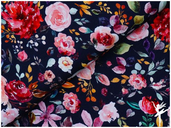 Digital Jersey Painted Flowers Dunkelblau