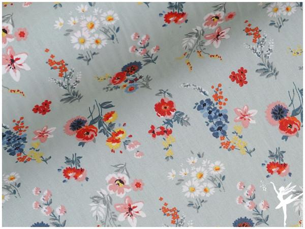 Wachstuch beschichtete Baumwolle Blumen Minze