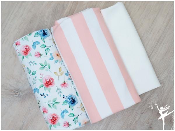 Stoffpaket Sweat/Jersey Ringel/Blumen Rosa/Weiß