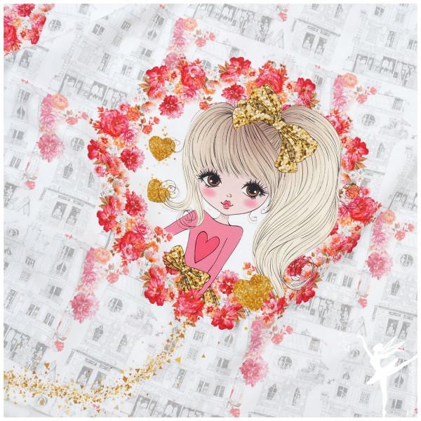 Panel Jersey Flower Girl Weiß/Rot/Rosa 3 Motive
