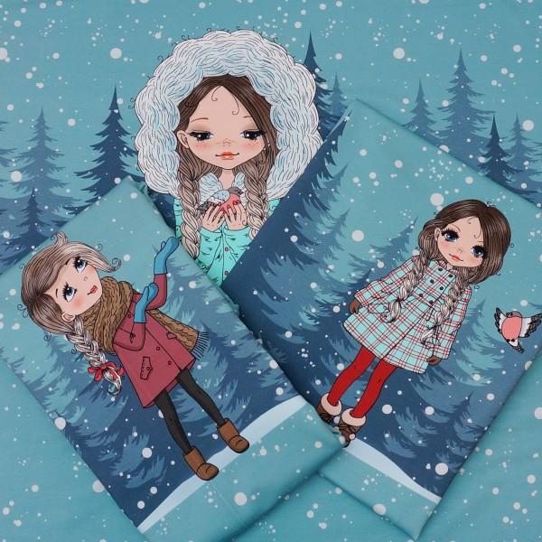 Terry Sweat Panel Snow-Girls (3 Motive) Blau