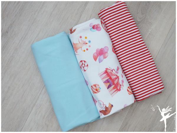 Stoffpaket Jersey Circus Weiß/Hellblau/Rot