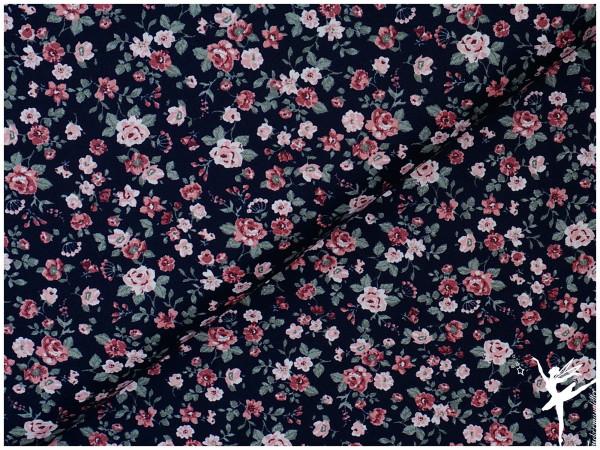 Baumwolle/Popelin Romantic Flowers Dunkelblau