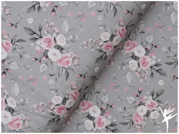 Theo Jersey mittlere Blumen Grau/Rosa