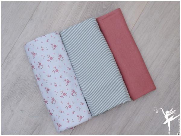 Stoffpaket Jersey Streublümchen/Ringel Weiß/Rosa/Mint
