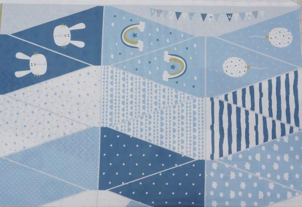Panel Wimpelketten Blau/Weiß Baumwolle