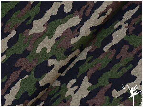 Baumwolle/Popelin Camouflage Grün