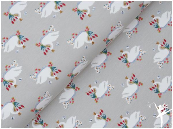 Jersey Glitter Swan Hellgrau