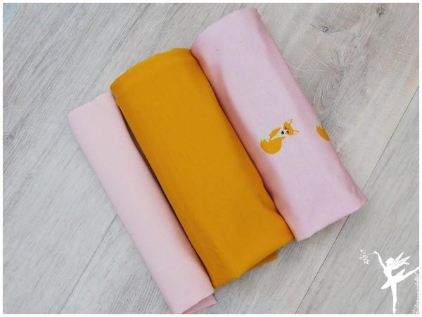 Stoffpaket Jersey/Sweat Fuchs Rosa/Senf