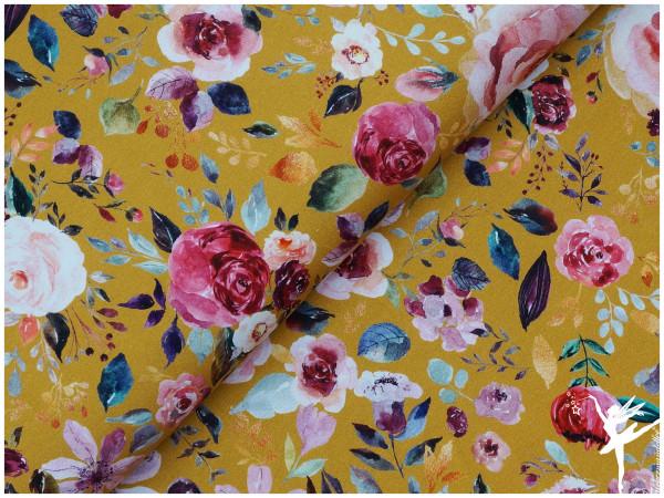 Digital Jersey Painted Flowers Senf