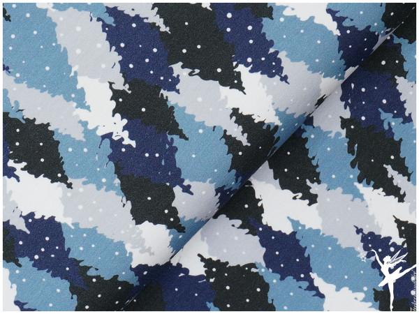 Terry Sweat Tannenbäume Blau (Kombi zu Eulen Panel!)