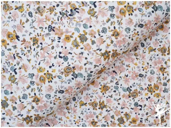 Digital Jersey Aquarell Streublumen Creme/Rose/Senf