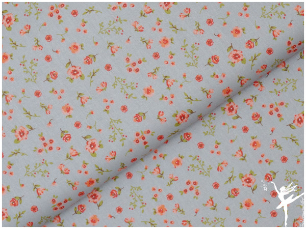 Baumwolle/Popelin Spring Flowers Grau