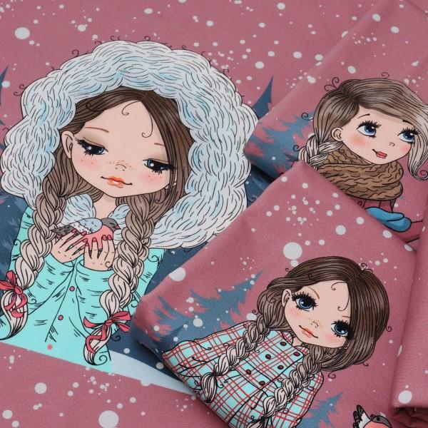 Terry Sweat Panel Snow-Girls (3 Motive) Altrosa