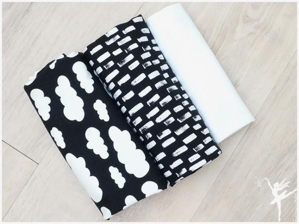 Stoffpaket Jersey Wolken/Striche Schwarz/Weiß