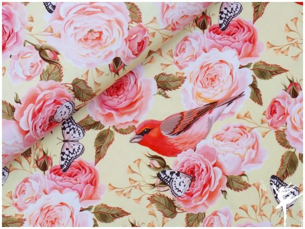 Sommer Jonne Digital Jersey Vanille Rosen /Schmetterlingen/ Vögeln