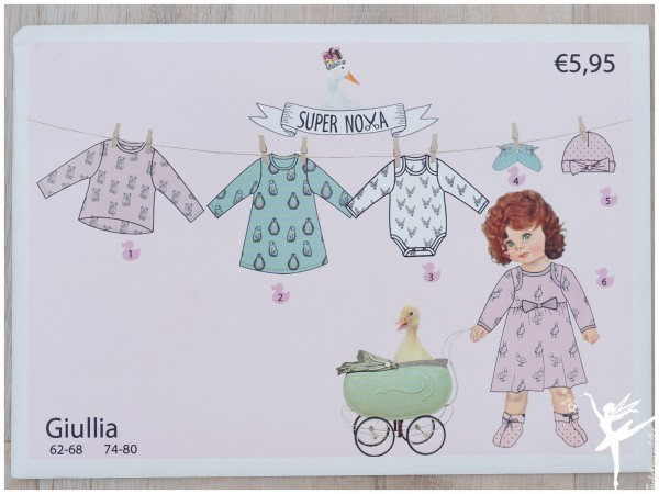 "6 Schnittmuster (Papier) • ""Giullia"" • Gr. 62-80 • Stenzo Super Nova • Mütze Schuhe Body Shirt Kleid"