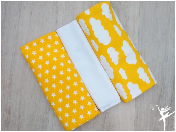 Stoffpaket Jersey Wolken/Sterne Zitronengelb/Weiß