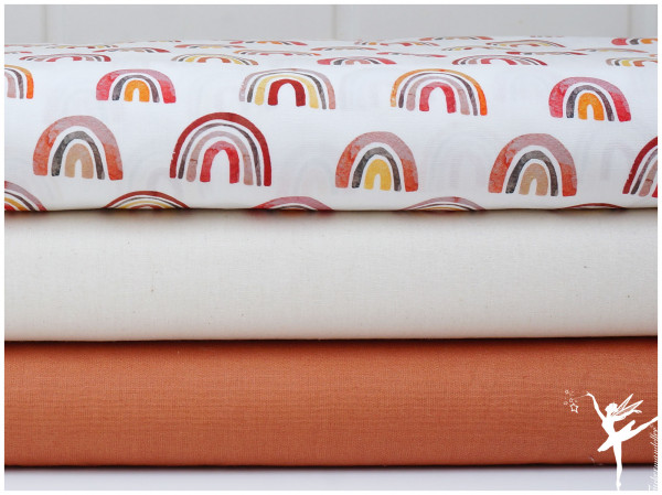♥ Stoffpaket 1,5 Meter Regenbogen Rost/Natur Baumwolle ♥