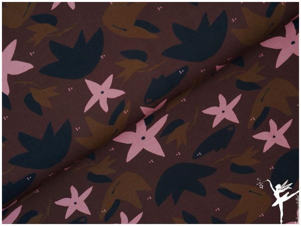Free Fallin Jersey – Blumen/Blätter Braun/Rosa