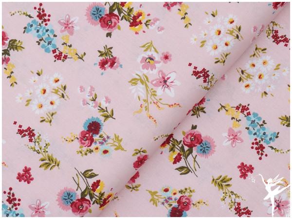 Baumwolle/Webware Blumen Rosa