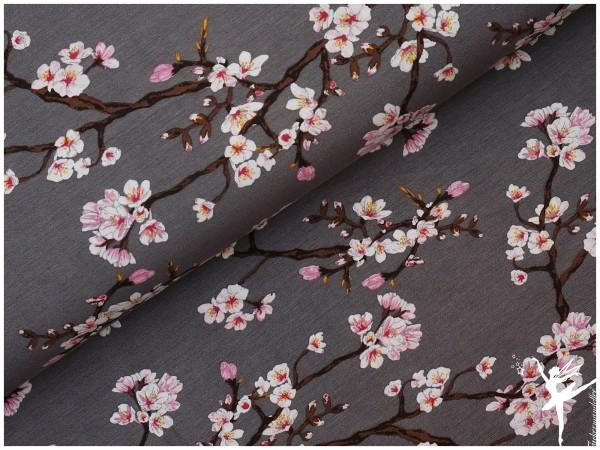 Modal Jersey Kirschblüten Grau