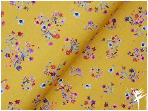 Digital Jersey Sommer-Blumen Gelb