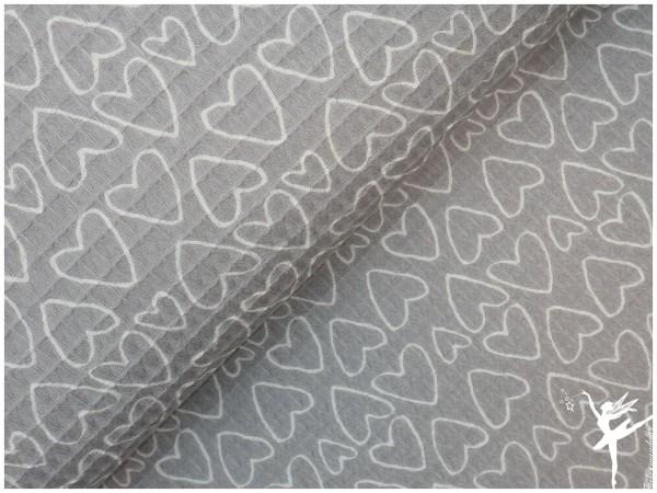 Herz Waffelpiqué Baumwolle Grau