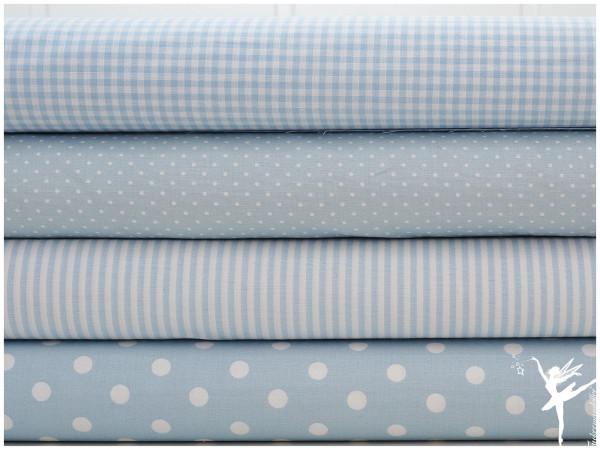 ♥ Stoffpaket 2 Meter Hellblau/Weiß Karo/Streifen/Punkte Baumwolle ♥-