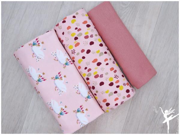 Stoffpaket Jersey Glitter Swan/Dots Rosa/Mauve