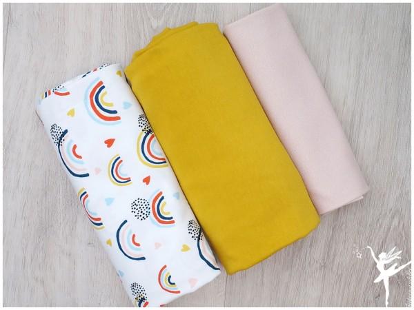Stoffpaket Jersey Regenbogen Weiß/Senf/Nude