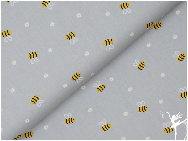 Baumwolle/Webware Biene Grau