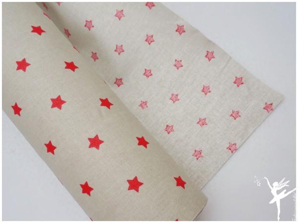 Wachstuch kleine Sterne Sand/Rot beschichtet