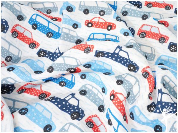 Double Gauze/Musselin Autos Weiß/Blau/Rot